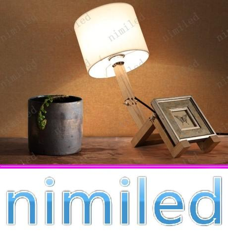 2018 Nimi691 Modern Wooden Lamps Man Shade Table Lights For Bedroom