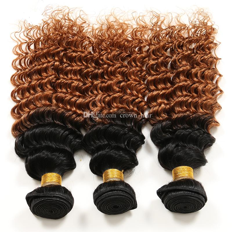 Hot Sale Beauty Honey Blonde Hair Bundles Deep Curly Hair Weaves #1B/30 Two Tone Hair Extensions For Black Woman
