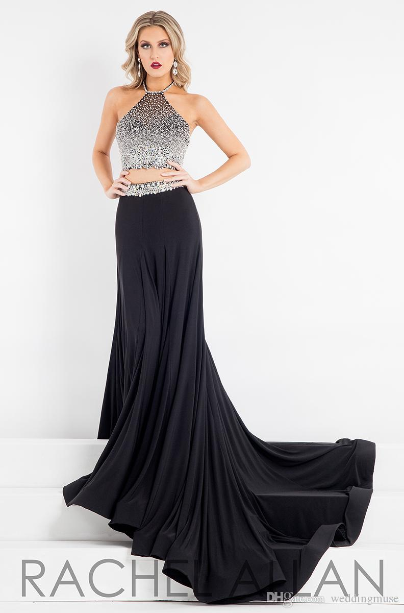 Hot Prom Dresses Two Pieces Halter Sparkling Crystal Beaded Formal Cocktail Evening Black Dresses Custom Made