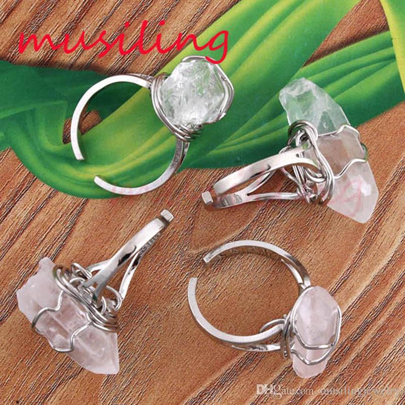 Kristal Yüzükler Ayarlanabilir Erkek Yüzükler Doğal taş Taş Yüzük Beyaz Kristal Kuvars Aksesuarları Gümüş Kaplama Moda Takı