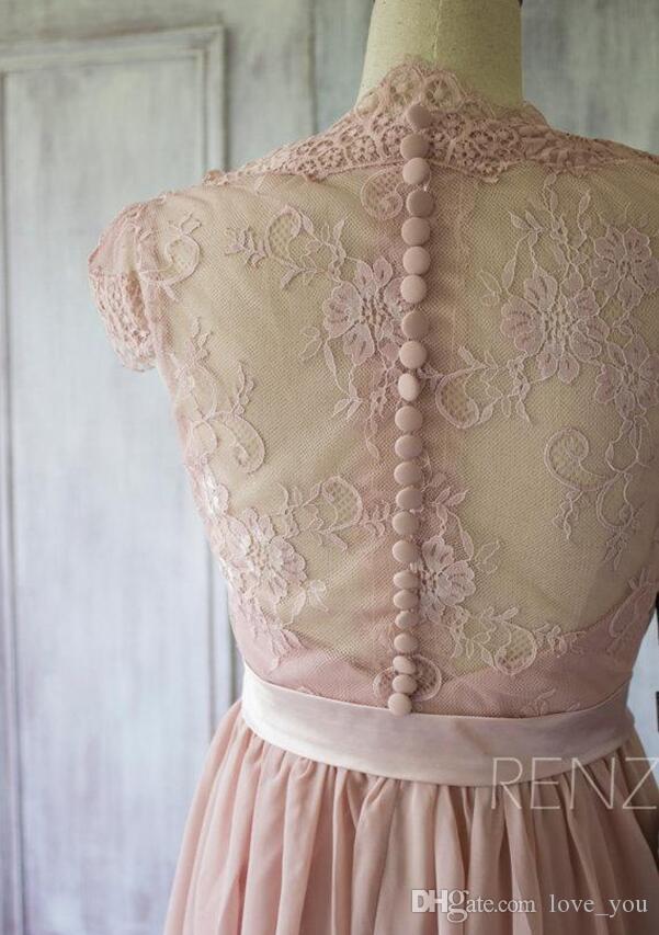Новый V-шеи Сексуальная иллюзия обратно Рухие шифоновые кружевные подружки невесты платья линии лето пляжное платье