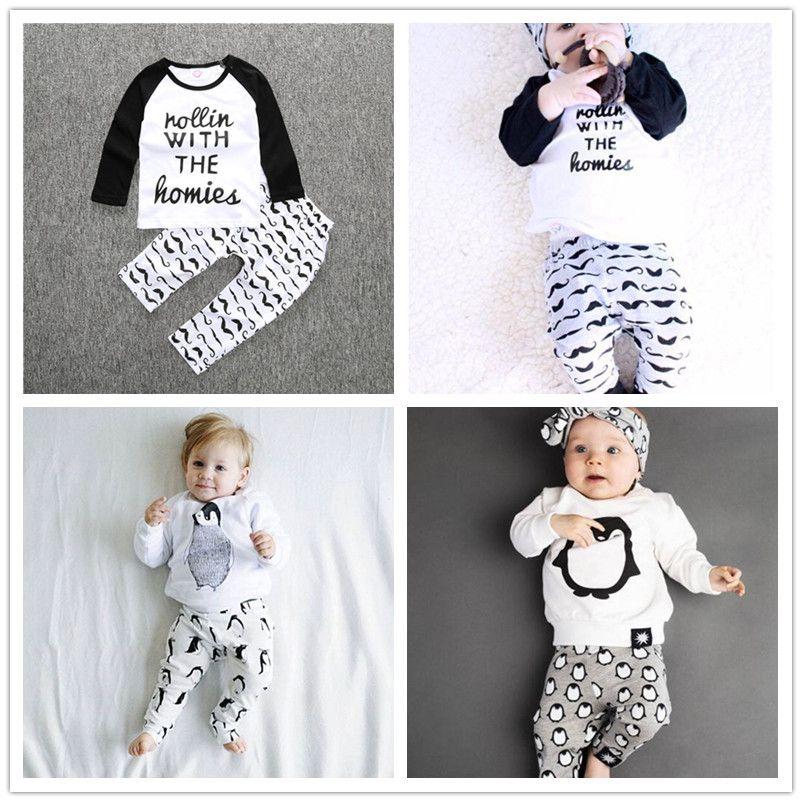 2016 Baby Clothes Set Kids Boys Long Sleeve Penguin Print Clothing