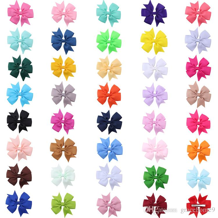 New Coxeer 40Pcs/Pack Ribbon Bow Hair Clip Pure Color Hairpin Hair Accessories For Baby Girls Kids Teens Toddlers Children