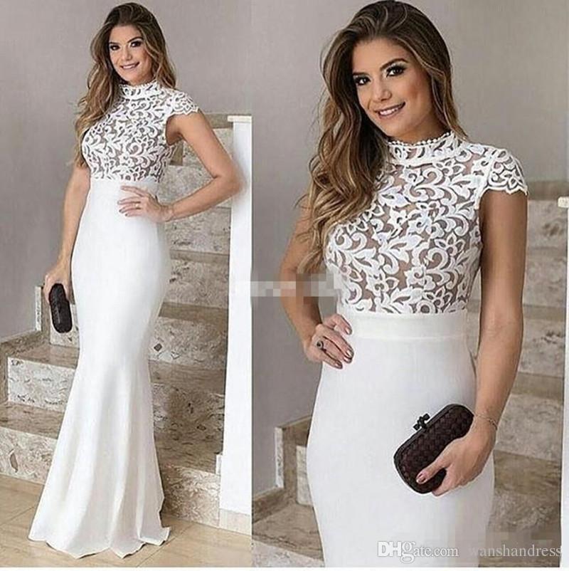 a83ec8987 Compre Elegante Vestido De Noche Blanco De Gasa Sirena Vestidos De Encaje  Tapa De Cuello Alto Vestido De Noche De Manga De Vestir Barato Barato  Vestido De ...