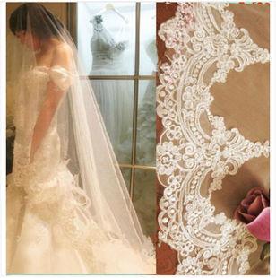 El nuevo 1 capa de encaje marfil blanco apliques de novia velo nupcial 3 metros de largo vestido de novia accesorios