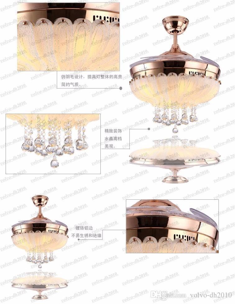 europäisches einfaches Design 42-Zoll-Deckenventilator-Lichtblätter versteckter Ventilator Kristallanhänger Deckenventilatorlicht LLFA11