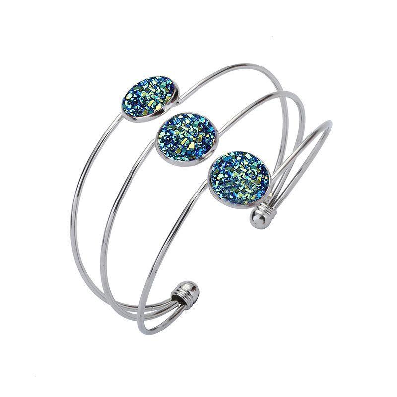 Resin Druzy Drusy Bracelet Cuff Silver/Gold Alloy Imitation Lava Stone Bracelet Handmade Fashion Jewelry for women