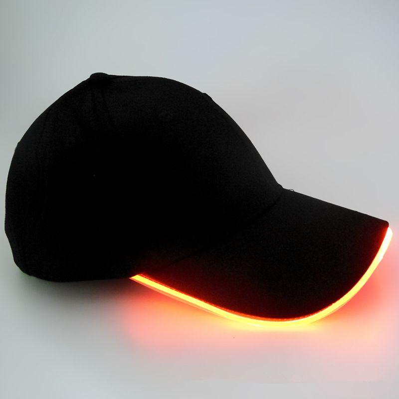 الصمام الخفيفة قبعة الوهج قبعة سوداء النسيج للبالغين قبعات البيسبول مضيئة 7 ألوان لتعديل حجم اختيار حزب عيد الميلاد
