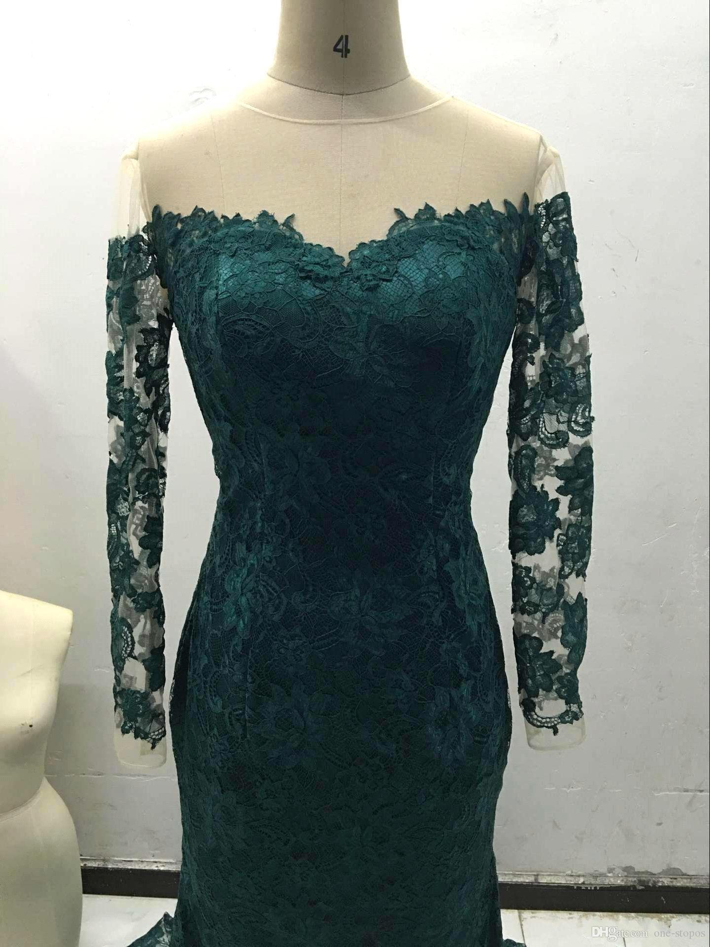 Mermaid Hunter Green Lace Formale Kleider Abendkleidung Echte Bilder Schulterfrei Sheer Lange Ärmel Abendkleider Gericht Zug Vestidos