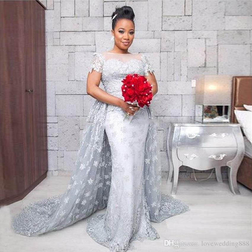 Новейшие 2017 плюс размер серебряные русалки свадебные платья 2017 прозрачные короткими рукавами кружева аппликация бусины блестящие свадебные платья с съемным поездом