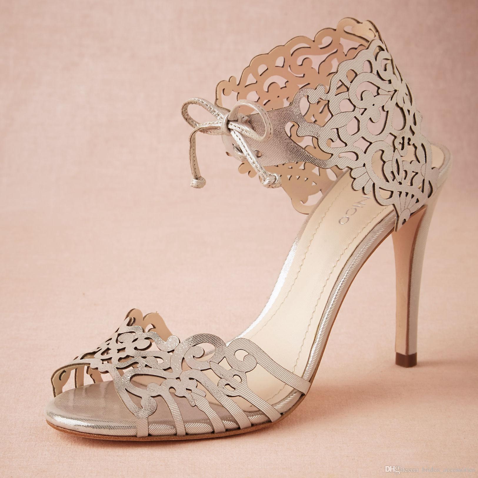 Modern Laser Cut Wedding Shoes Heels Custom Pumps Tie Closure