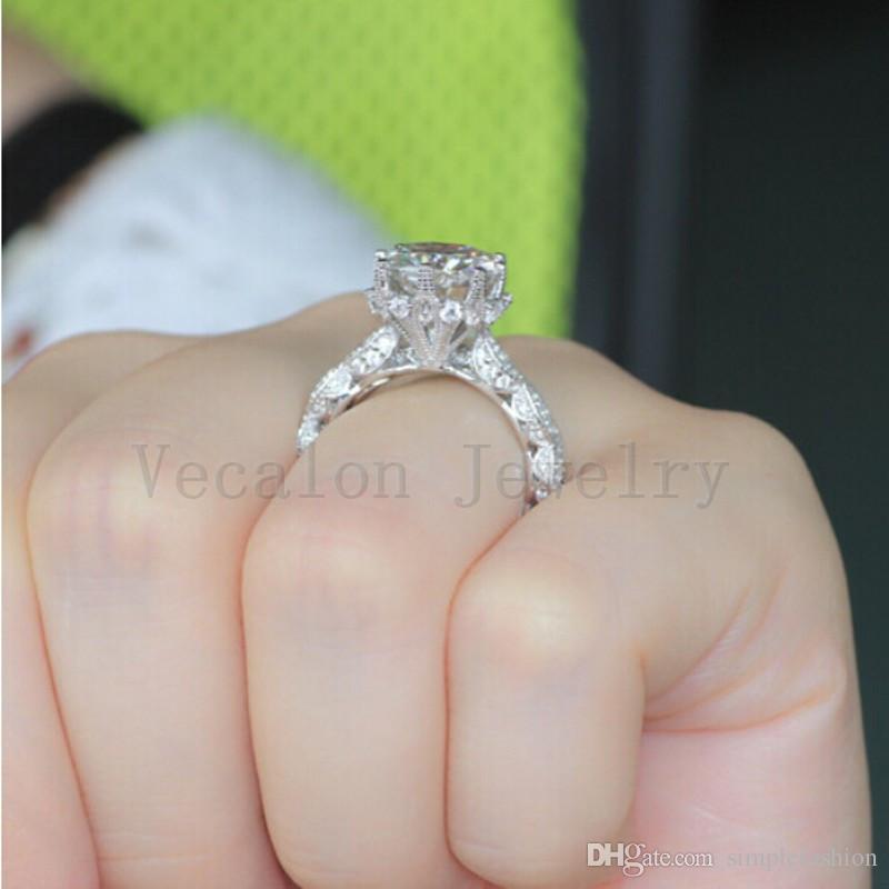 Vecalon 2016 Vintage bague de fiançailles de fiançailles ensemble pour les femmes 3ct diamant simulé Cz 925 bague de fête féminine en argent sterling