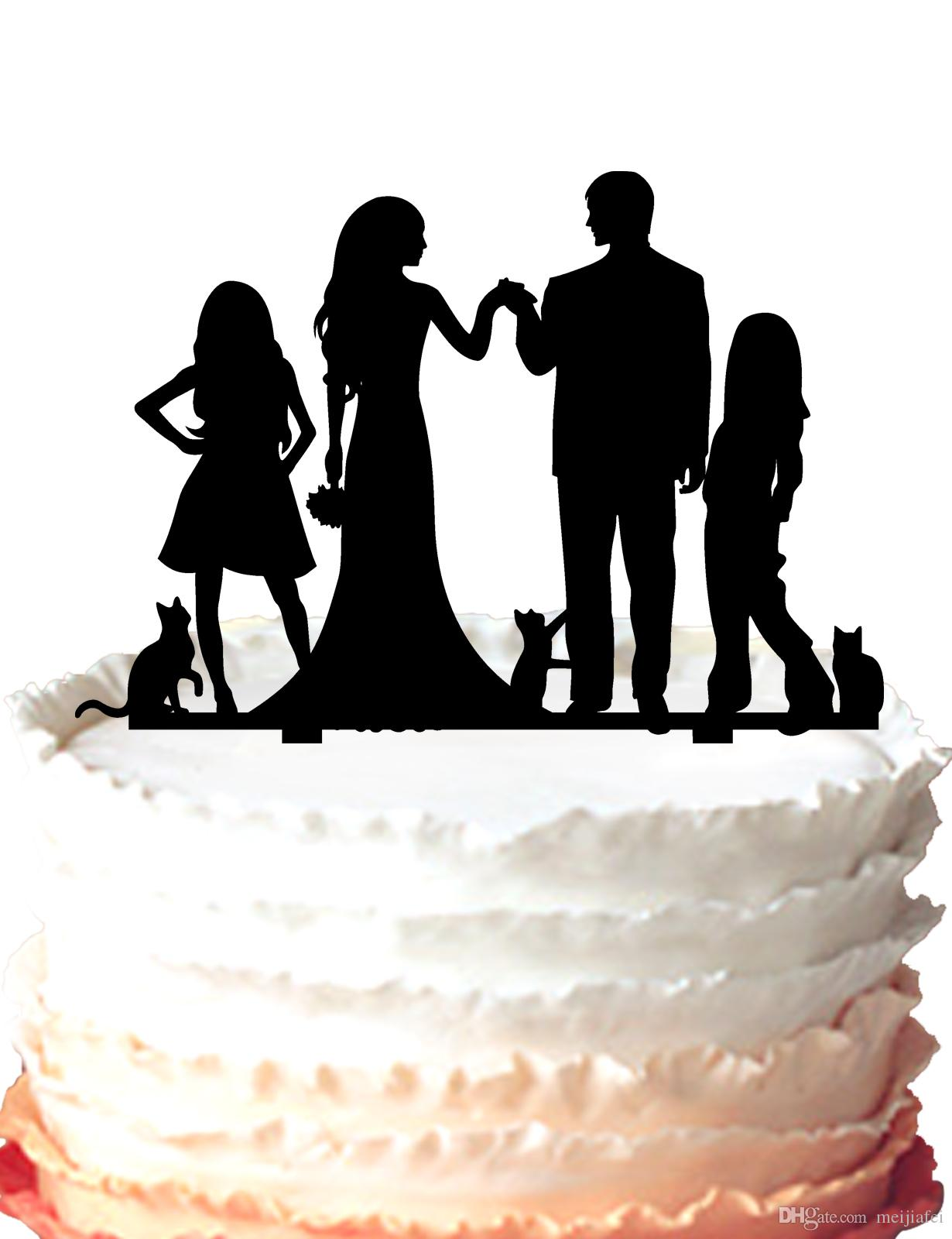 2018 Anniversary Family Cake Topper Bride And Groom,Two Girls And ...