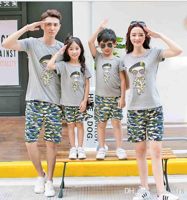 2016 family matching outfits mom daughter father son clothing set
