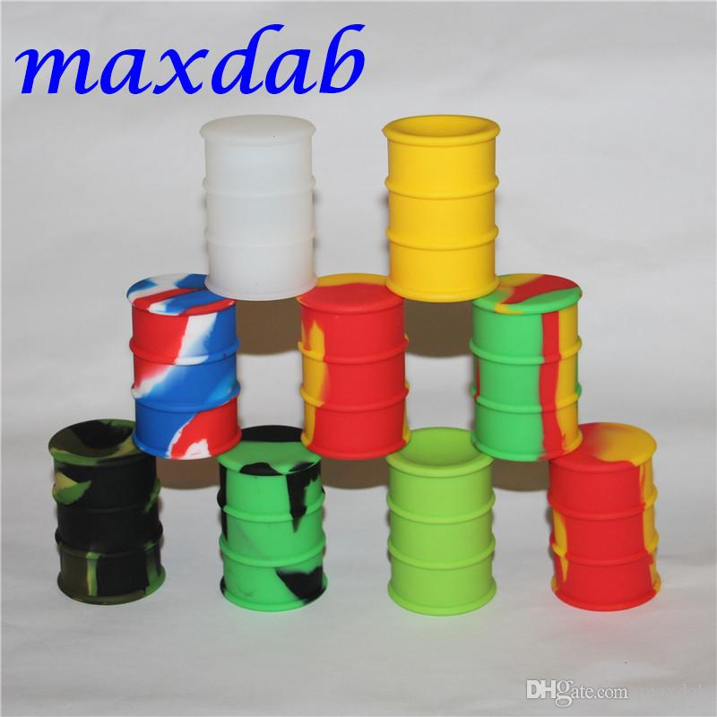 silicone oil barrel container jars dab wax vaporizer oil rubber drum shape container 26ml large food grade silicon dry herb tool