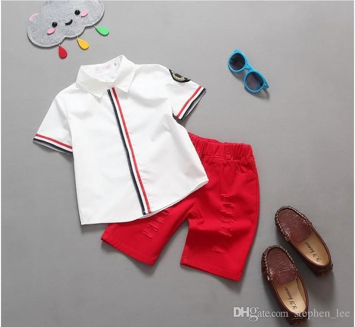 2016 Summer Boys Clothing Sets Gentleman Style Short Sleeve Stripe Shirts + Shorts Set Children Outfits Kids Baby Suits