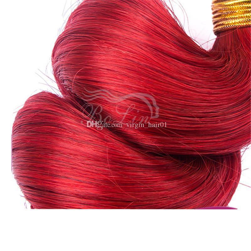 Wholesale Brazilian Loose Wave Human Hair Extension Cheap Virgin Hair 3 Bundles 8A Mink Loose Wave Red Bundles Red Double Weft 9A