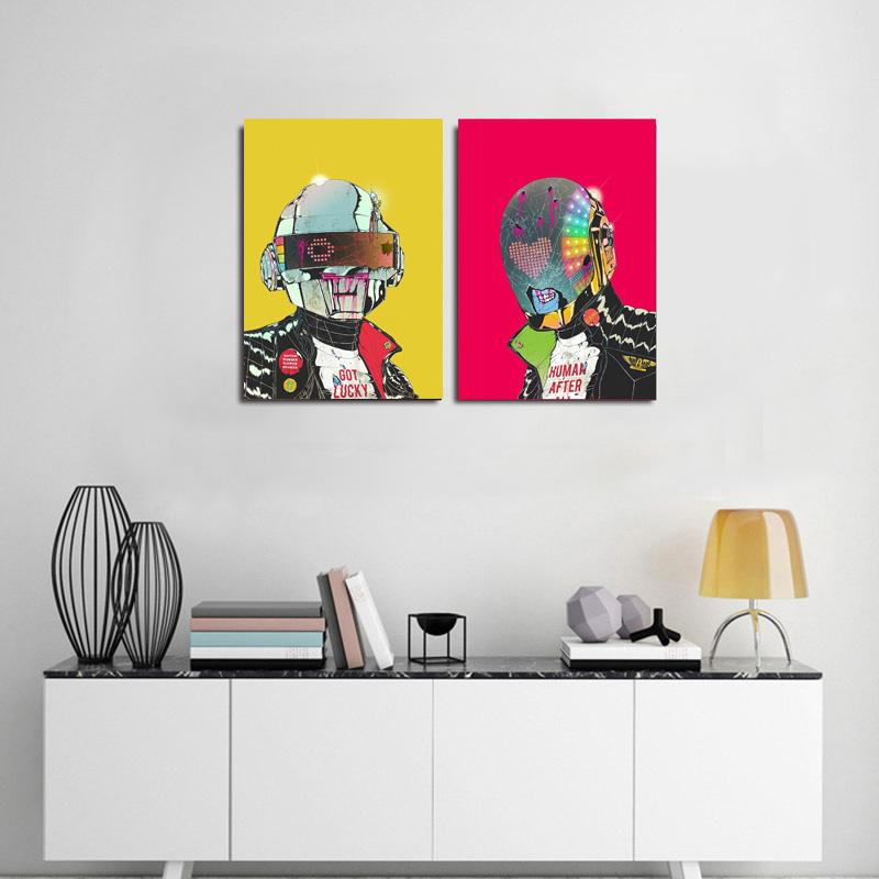 Unframed Daft Punk Music Band Helmet Mask Art Print Poster Abstract Wall Picture Canvas Painting Home Decor