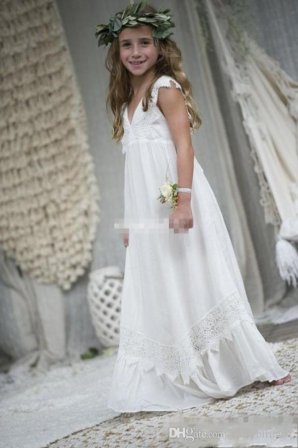 2018 New Arrival Boho Vestidos Da Menina de Flor Para Casamentos Baratos V Neck Lace Chiffon Criança Comunhão Formal Vestido De Casamento De Praia Custom Made