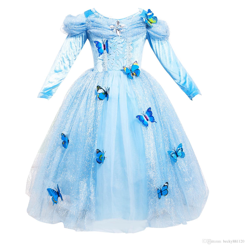 Il colore blu femminile all'ingrosso di colore blu femminile del costume di Posplay del bambino del vestito da principessa di Cinderella dei vestiti dei bei bambini di Halloween libera il trasporto