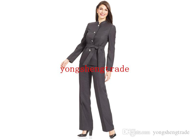 f04d57e65bf 2019 Designer Belted Pant Suit Custom Made Gray Women Suit Business Suit  Stand Collar Mid Rise Pants HS8045 From Yongshengtrade