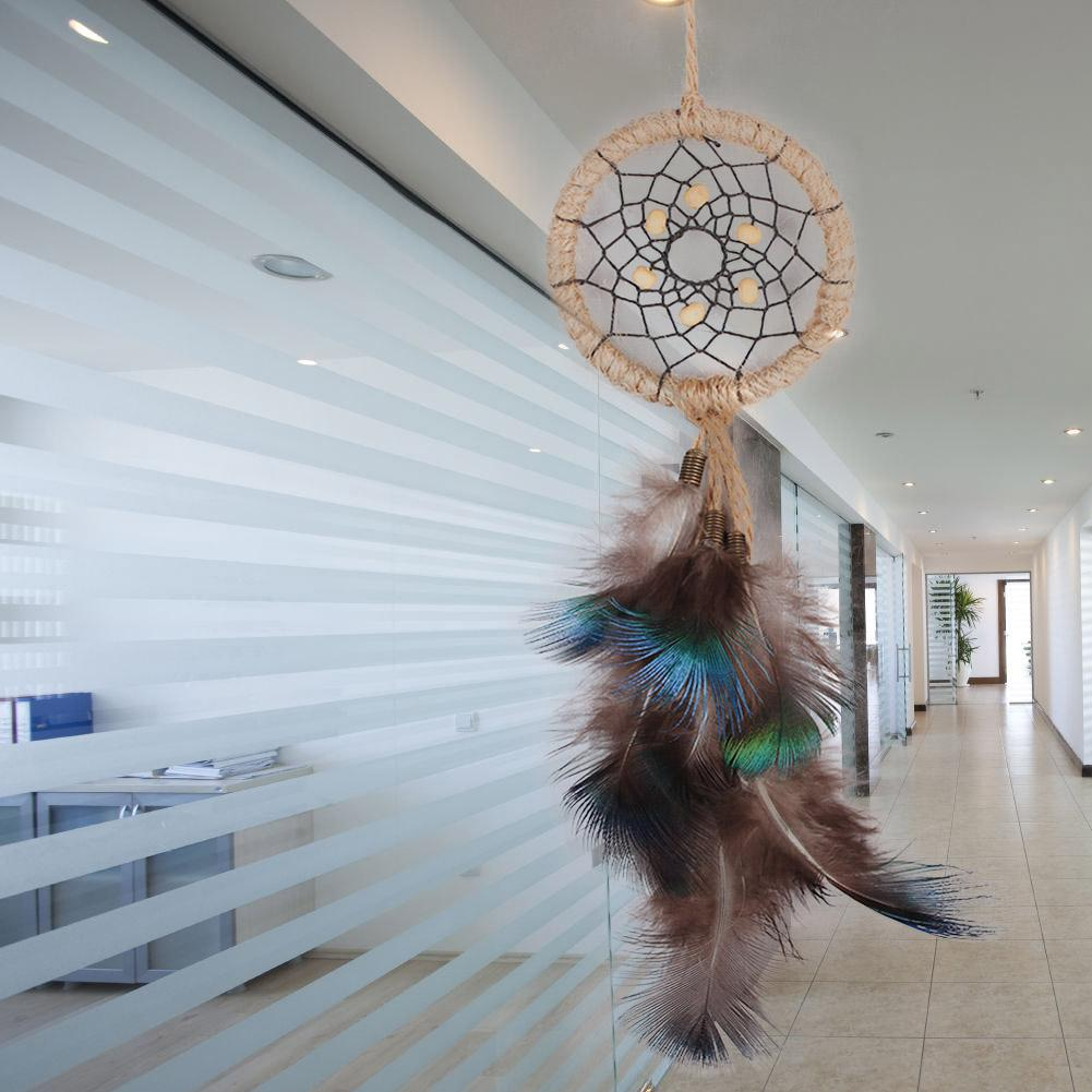 Best Price Dream Catcher Peacock Feather Car Wall Hanging Handmade Decoration Ornament Wind Chimes Decor Free Shipping