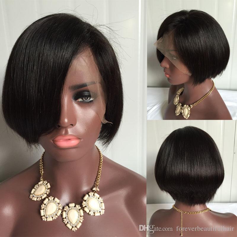 Hot short bob cut wigs with baby hair glueless brazilian short full lace front human hair wigs bob for black women
