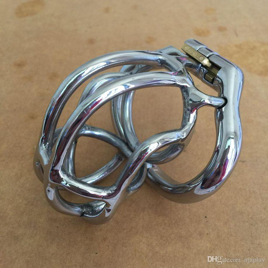 2018 Hot !! Male Annular Chastity Cage Device Belt with Open Mouth Snap Ring Small Size Stainless Steel Kit Bondage SM Toys Cock Locks
