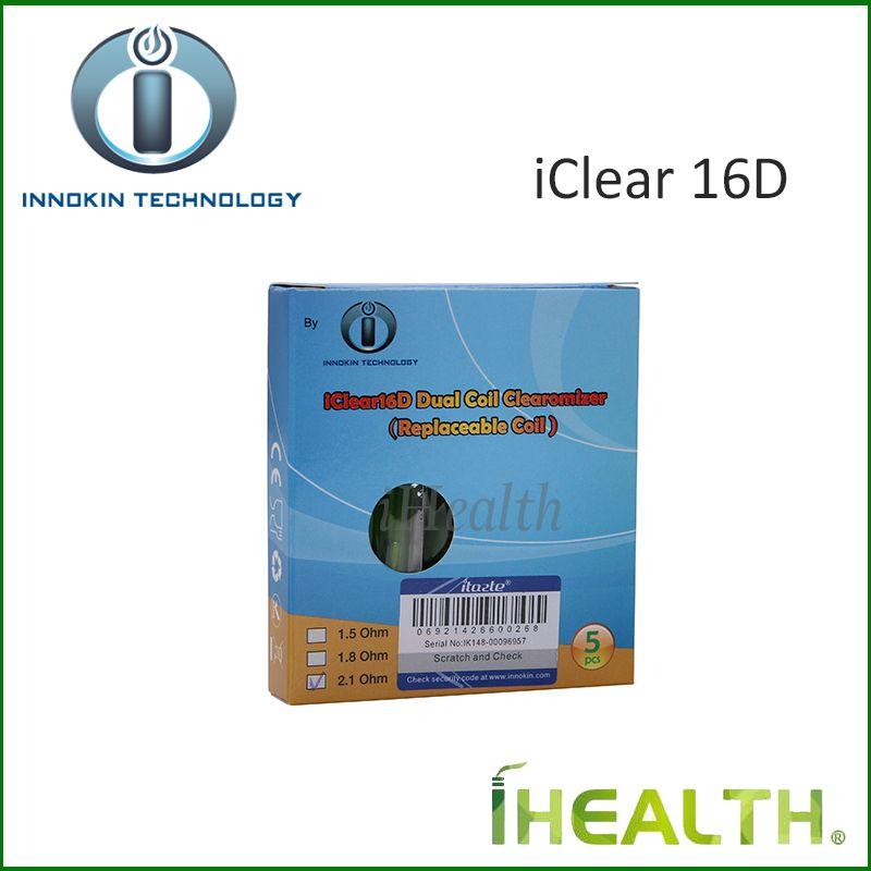 Innokin iClear 16D Clearomizer 2,0 ml Kapazität mit 2,1 Ohm austauschbarem Doppelspulenkopf iClear 16D Doppelspulenzerstäuber 100% Original