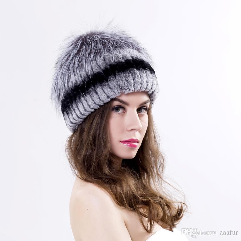 590ad0065fd6c Winter Women Rex Rabbit Fur And Silver Fox Hat