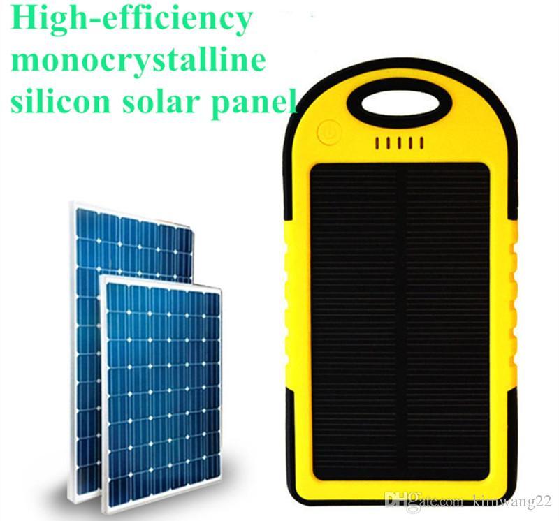 5000mAh Carregador Solar e Bateria Painel Solar portátil para celular Câmera de Laptop MP4 Com Lanterna à prova de choque à prova d 'água