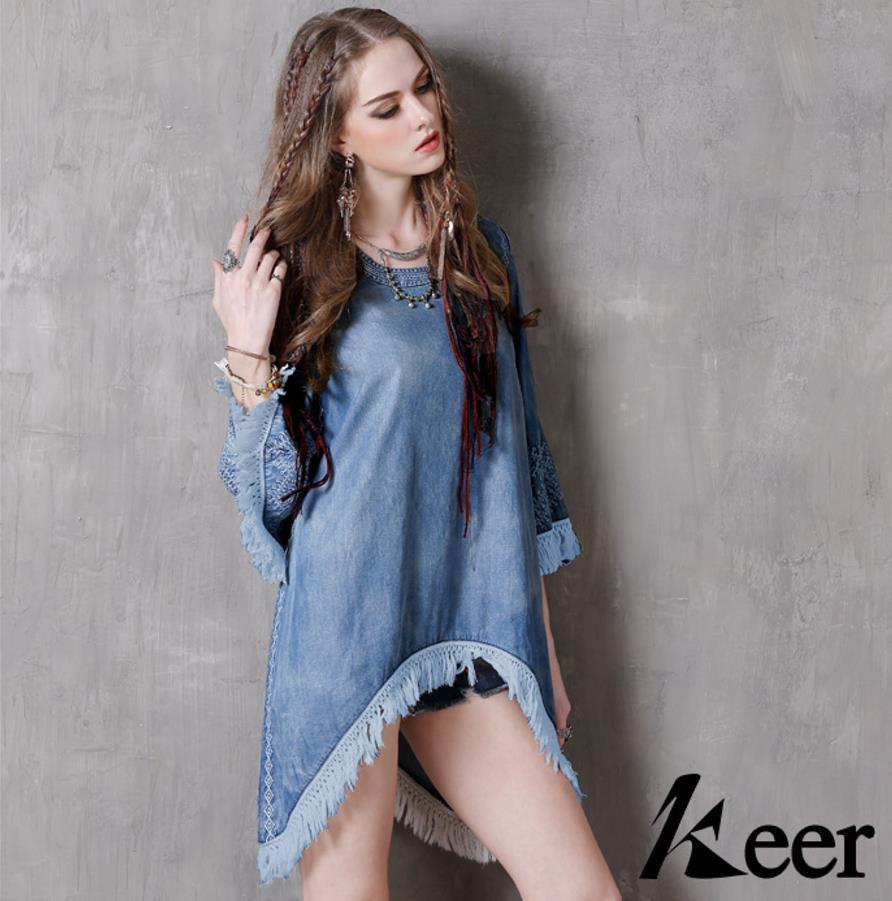 Denim Dress Women Crew Neck Tassel Embroidery Hollow Out Big Hem Hi ...