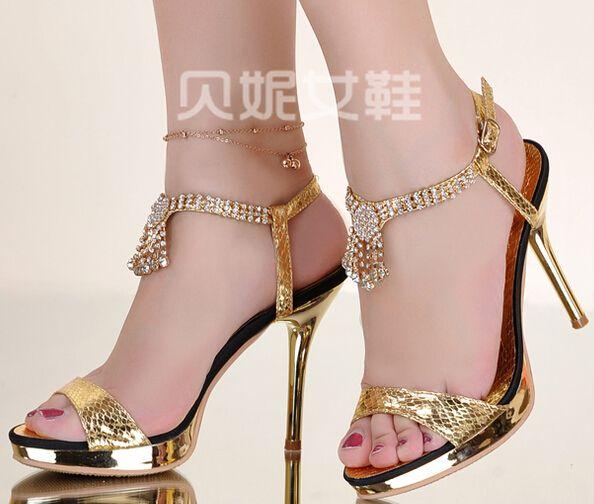 2017 Rhinestone Gold Stilettos Sandals Women High Heels Open Toe ... d08854f1f98f