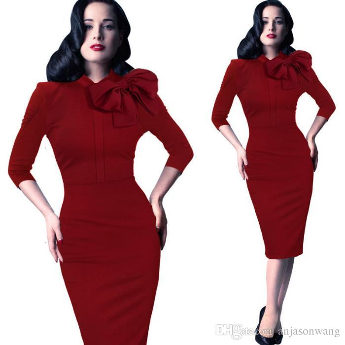 Woman Bodycon Dress Red Bow Tie Round Neck Split Sexy Zipper Half Sleeves  Dress Pack Hip Pencil Skirt Slim Knee Length Casual Dress C64 Tunic Dress  White ... 204b5fdb9