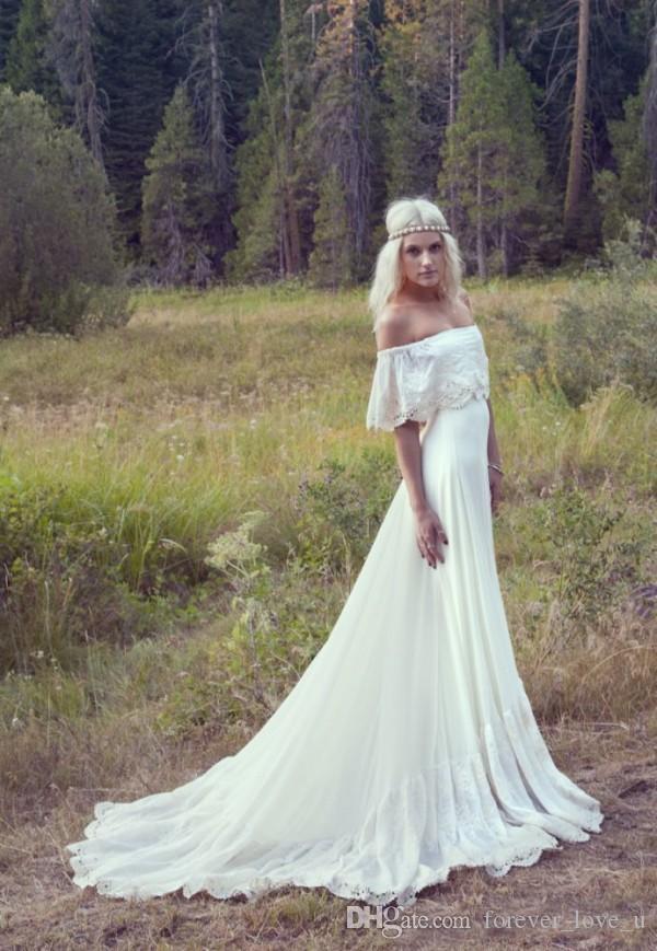Frühling böhmischen Brautkleider aus der Schulter Elfenbein Chiffon Garden Boho Brautkleider mit Spitzenapplikationen und langen Zug