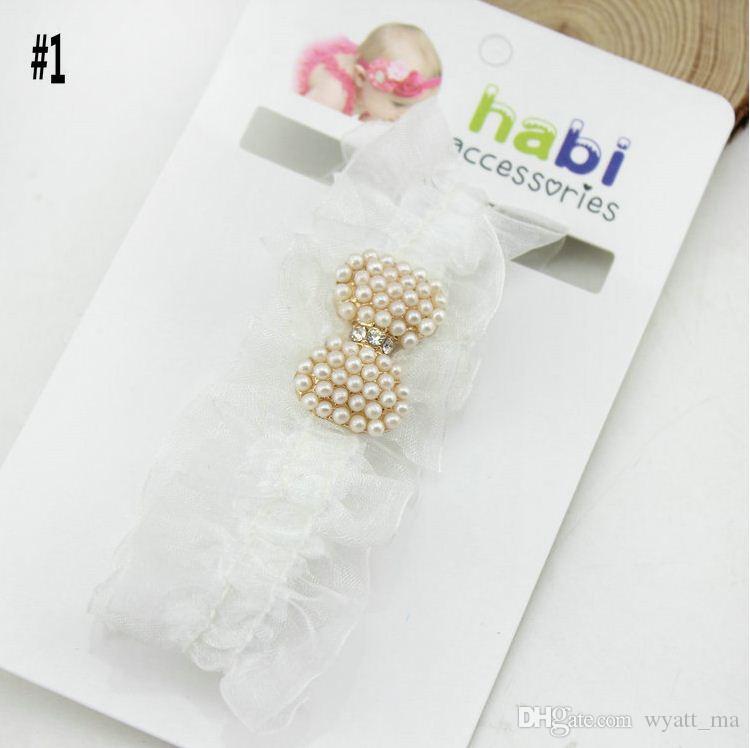 Le fasce del bambino Pearl Diamond neonati fascia capa dei capelli dei bambini accessori bambini Accessori Bimba puntelli foto