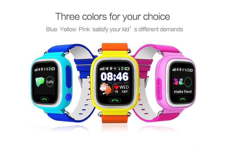 2016 kindersicher Q90 GPS-Tracking-Uhren berühren TFT-Bildschirm 1,22