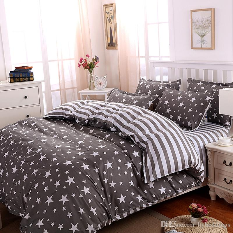 Wholesale The Stars Stripes Polyester Bedding Set Grey Duvet Cover Bed Set  Twin Full Queen King Size Bed Sheets Bedlinen Bedclothes Embroidered Duvet  Cover ...