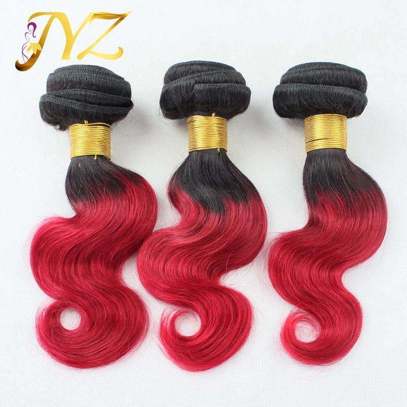 extensions de cheveux ombre brésilienne ombre vierge armure de cheveux humains 1B / rouge bleu gris pourpre couleur remy faisceaux de cheveux humains Livraison gratuite