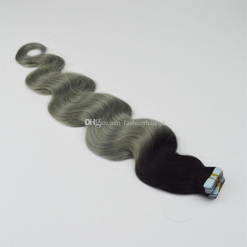 Ombre Tape Hair Extensions T1b Grey Peruvian Body Wave Virgin Hair Two Tone PU Skin Weft Tape In Human Hair Extensions