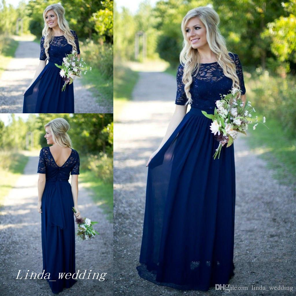 Navy blue long country bridesmaid dress short sleeves chiffon lace navy blue long country bridesmaid dress short sleeves chiffon lace women wear formal maid of honor dress for wedding party gown bargain bridesmaid dresses ombrellifo Image collections