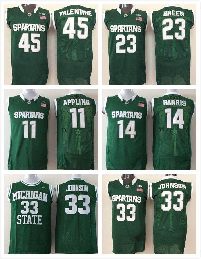 c142927d7 2019 Men Michigan State Spartans College Jersey  33 Magic Johnson 14 Gary  Harris 45 Denzel Valentine 23 Draymond Green Basketball Jerseys Cheap From  ...