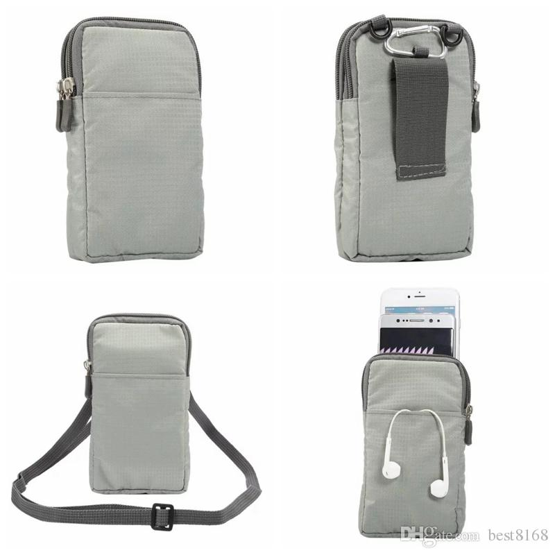 For Iphone 7/Plus/6 6S/Galaxy S7/Edge/S6/Plus Clip Zipper Universal 6.0inch Phone Cloth Bag Hip Pouch Card Slot Belt Handbag+Strap