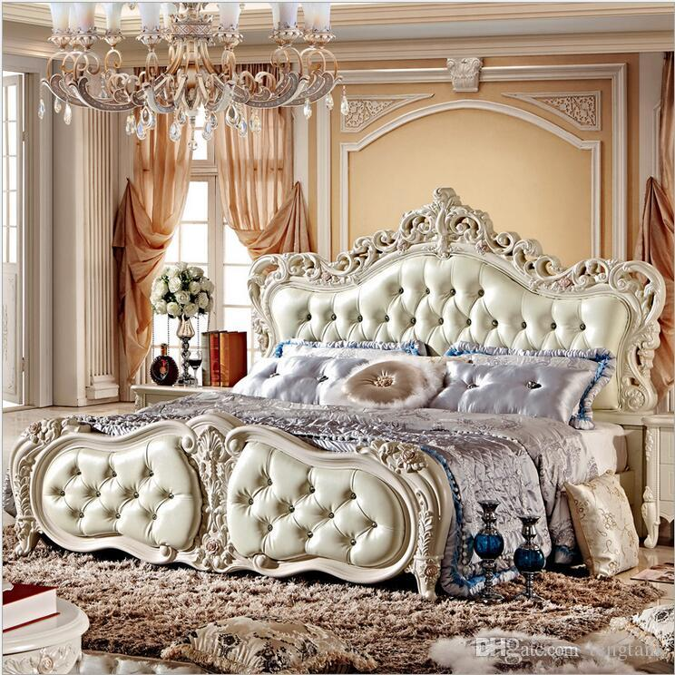 . factory price king size leather modern european solid wood bed Fashion  Carved 1 8 m bed french bedroom furniture 10026