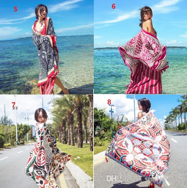 2017 new Ethnic style cotton linen scarf woman summer seaside travel super large sunscreen beach scarf wholesale free shipping shawl