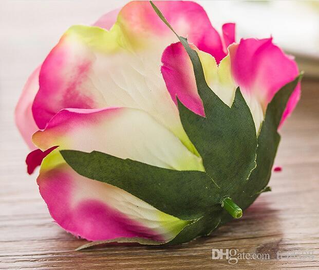 Simulación de la flor de la boda rosas arcos de la cabeza flor decoración de la pared flor de la tela de seda artificiales falsas flores 9 CM flores