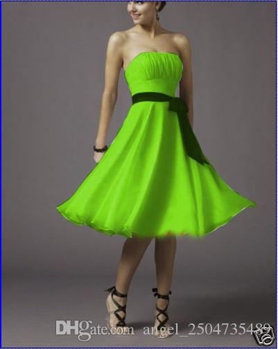 Robe demoiselle d honneur2017 new chiffon AlineTea-Length lime green  bridesmaid dress short cheap plus size dresses under $ 50