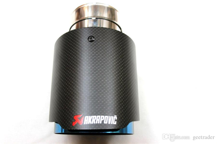63MM INLET- 101MM OUTLET Akrapovic blue stainless steel Exhaust Muffler Tip carbon fiber Exhuast Pipes Rear Muffler Tips