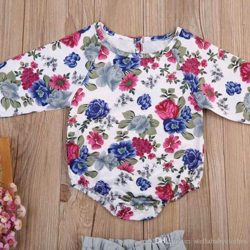 Wholesales Little Baby Clothing Set Fashion High Waist Skirt with Bodysuit Girls Clothes Autumn Floral Print Girls Boutique Clothes