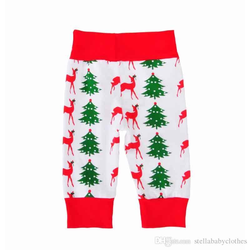 Toptan Avrupa Noel Bebek Giyim Seti Geometrik Baskı Kızlar Bodysuit Pantolon Set Sevimli Yenidoğan Bebek Butik Kıyafet